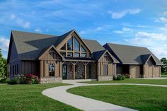 Porch House Plans, Garage House Plans, New House Plans, Mountain Cottage, Mountain House Plans, 3 Car Garage, Open Living Area, Ranch Style Homes, Just Dream