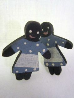 "Black Americana Handmade 1"" Wooden Earrings Folk Art Wood Mammy Stud Post  #BlackAmericana #folkart"