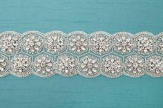 Crystal Bridal Belt,Tulle Wedding Sash, Designer Trim, Swarovski Crystal Bridal-CUSTOM ORDER