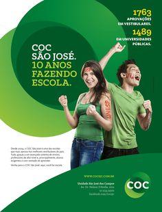 COC São José. 10 anos fazendo escola - Anúncio de revista