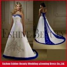 Vintage A-line Royal Blue and White wedding dresses (Marine Wedding ... e74e13192