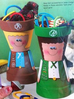 Girl Scout craft from flower pots