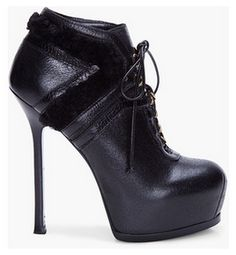 YVES SAINT LAURENT Black Tribtoo Shearling Ankle Boots