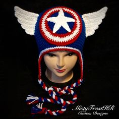 Crochet Captain America Earflap Hat. Available in any size and color. www.facebook.com/MistyFrostHR www.mistyfrosthr.com