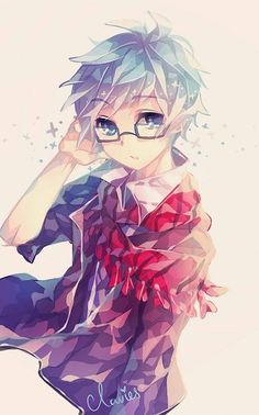 Image result for anime guy with white hair and purple eyes and glasses