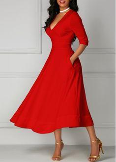 Red Half Sleeve Plunge Neck Midi Flare Dress