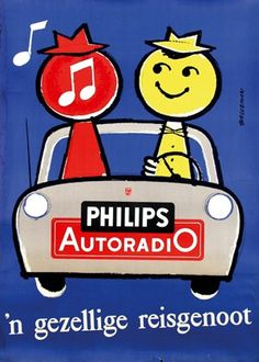 Gezellig de radio aan in de auto :) Travel Companion Philips Autoradio 1958 Vintage Advertising Posters, Vintage Advertisements, Vintage Ads, Vintage Posters, Vintage Music, Vintage Signs, Big Ben, Radios, Herve