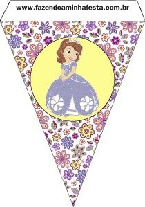 bandeirinha varalzinho Princesinha Sofia da Disney