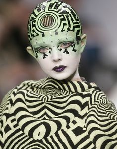 Cyberpunk Art, avant-garde fashion, art fashion, make up, Britain Fashion Week, Manish Arora, future, futuristic, fashion girl, model by Fut...