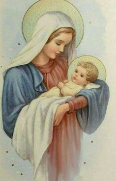 Blessed Mother and Baby Jesus Christmas Scenes, Christmas Nativity, Christmas Pictures, Christmas Art, Christmas Greetings, Jesus Mother, Blessed Mother Mary, Blessed Virgin Mary, Baby Jesus