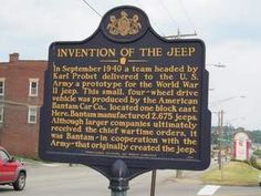 A historical marker provides details about the invention of the Jeep in Butler, PA