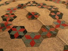 """Vintage Antique Hand-Stitched Quilt ~ Stars With Hexagons 1930s-1940s  73"""" x 84"""" , eBay, karensamoyed"""