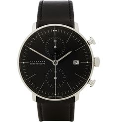 Junghans x Max Bill Stainless Steel Black Leather Automatic Chronograph Watch | MR PORTER