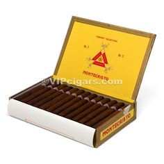 Monte Cristo torpedo cigars.  There are a few boxes on the bookshelf behind John's chair.