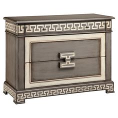 Stow knit sweaters in the master suite or spare throws in the guest room with this eye-catching chest, featuring Greek key detailing and a stormy gray finish...