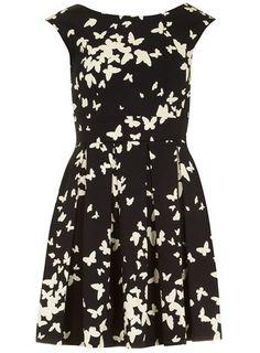 Black white butterfly dress