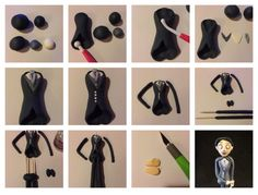 How to make Victor from the Corpse Bride - fondant tutorial Fondant Rose, Fondant Baby, Fondant Flowers, Fondant Cakes, Cupcake Cakes, Cupcakes, Cupcake Ideas, Fondant Figures Tutorial, Fondant Toppers