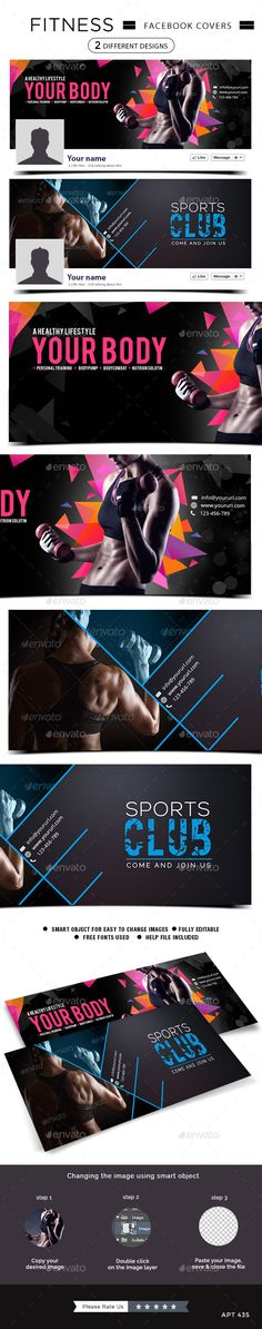 2 Fitness Facebook Covers — Photoshop PSD #web banner #health • Download here → https://graphicriver.net/item/2-fitness-facebook-covers/10636731?ref=pxcr