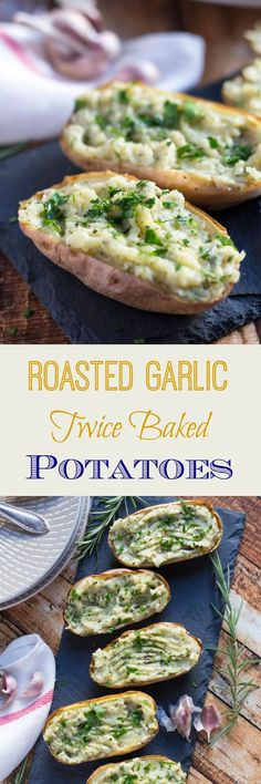 These Roasted Garlic Twice Baked Potatoes are full of creamy, roasted garlic, and can easily be frozen so you always have a quick side dish on hand.