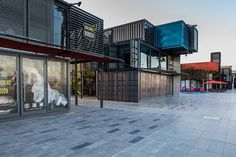Box Park Dubai - Innovative use of Shipping Containers. Looks great as well