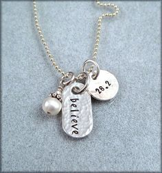 Hand Stamped Marathon Necklace - Personalized Runners Jewelry - Race Charms on Etsy, $38.00