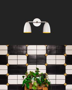 Our new clip tile is the perfect spin on black and white tile. Available in over 70 colors! Bathroom Sconces, White Bathroom, Tile Crafts, Black And White Tiles, Can Lights, Handmade Tiles, Decorative Tile, How To Make Light, Wall Spaces