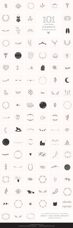 101 Hand Drawn Logo Elements EPS PSD - Filled with 101 of my own hand drawn doodles, this kit is an invaluable asset for anyone wanting to break into the hand drawn branding market. by Maggie Molloy $22 #vector #graphic #drawing #doodle #clipart #affiliatelink