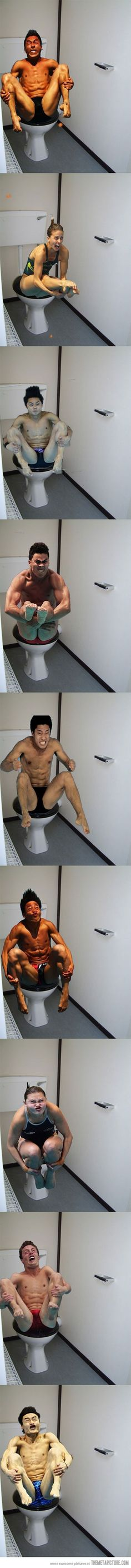 Olympic divers on the toilet… This made me laugh for 10 minutes...tears in my eyes.