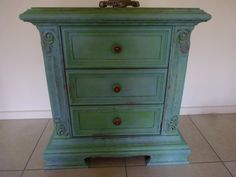 Verdigris effect created with Copper and 2 Annie Sloan colours-Provence and Antibes green.