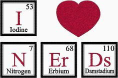 I Love NERDS Periodic Table Embroidery Design by MyBabeInTheHood