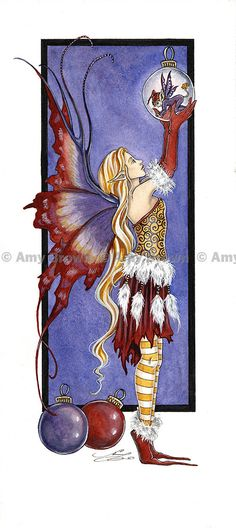 Holiday Fairy PRINT by Amy Brown. $8.00, via Etsy.