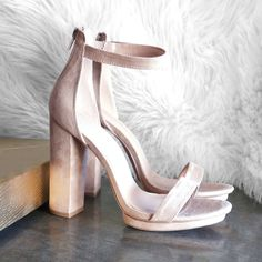 Trust us. These super chic heels will make you feel haute and bothered. Suede Heels, Chunky Heels, Block Heels, Open Toe, Ankle Strap, High Heels, Sandals, Chic, Trust