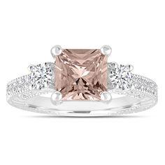 Princess Cut Morganite Engagement Ring, Three Stone Wedding Ring 1.88 Carat 14K White Gold Vintage Antique Style Engraved Handmade