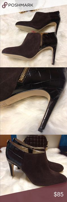 Michael Kors booties These spell classy! Rich chocolate brown croc leather and suede. Comfortable 3.5 heel. New, never worn but no box. Michael Kors Shoes Ankle Boots & Booties
