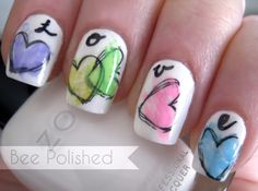 Bee Polished hearts valentine #nail #nails #nailart