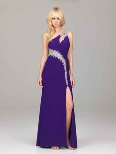 A-line One Shoulder Chiffon Royal Blue Long Prom Dresses/Evening Dress With Beading #WX666