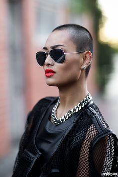 black and gold Micah Gianelli, Revealing Swimsuits, Bald Women, Androgynous Fashion, Looking For Women, Fashion Beauty, Feminine, Model, Beautiful