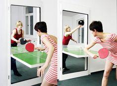 Porte modulable en table de ping-pong