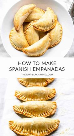 Spanish Empanadas are Empanadillas de Bonito - The Tortilla Channel - Empanadillas de bonita are Spanish empanadas filled with tuna. A Spanish tapas recipe that you can - Lunch Snacks, Yummy Snacks, Beef Empanadas, Spanish Chicken Empanadas Recipe, Empanadas Filling Recipe, Spanish Dishes, Gourmet Desserts, Plated Desserts, Gastronomia