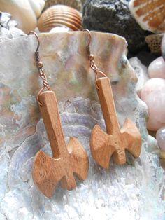 Labrys  wood earrings by Syama on Etsy