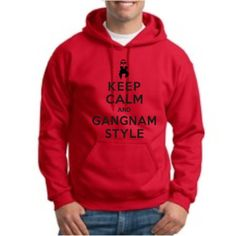 Keep Calm and Gangnam Style Hoodie Hooded Sweatshirt PSY kpop k-pop Oppa Oppan Korean Dance Funny Horse Medium Red