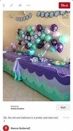 Just a pic but a great idea for a BEACH THEMED PARTY | Tablecloth of waves with a fishnet runner and  a fishnet of balloons with starfish.