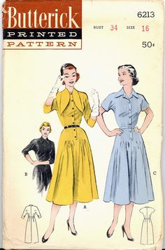 1950s Tailored Dress Butterick 6213 Bust 34 Revers Button Front MCM Vintage Pattern on Etsy, $18.99