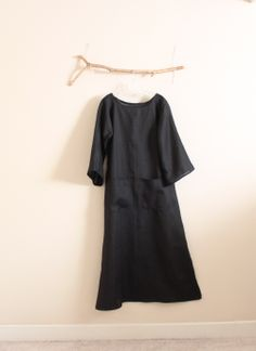 black hanky linen dress by annyschooecoclothing