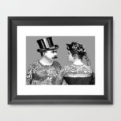 Tattooed Victorian Lovers  tattoos, tattoo art, tattooed, Victorian, vintage, couple, man and woman, eternal love, romance, weddings, wedding gift, anniversaries, valentine, mustache, religion, black and white, monochrome, top hat, corset, mustache, moustache, Eclectic at HeART