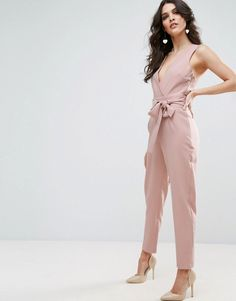 e4ceec05ed2a ASOS Wrap Front Jumpsuit with Twist Back and Self Tie - Pink Jumpsuits For  Women Formal