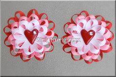 Valentine's Heart Hair Clip Valentine Loopy Flower by GirlyKurlz, $6.50