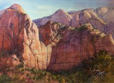 Watercolor Painting of Kolob Cliffs in Zion National Park Most Visited National Parks, National Parks Usa, Zion National Park, Watercolor Scenery, Watercolor Red, The Artist Magazine, Zion Park, Travel Sketchbook, Western Landscape