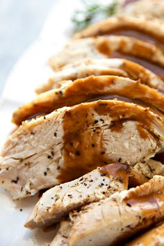 The most tender and deliciously seasoned crockpot turkey breast. Perfect for smaller holiday get togethers or to have turkey ready for lunches and salads during the week. Chelsea's Messy Apron, Thanksgiving Recipes, Christmas Recipes, Holiday Recipes, Turkey Crockpot Recipes, Crockpot Meals, Crockpot Dishes, Chicken Recipes, Slow Cooker Turkey