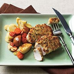 Healthy recipe for oven crispy pork chops! Uses dijon mustard to get the panko breadcrumbs to stick - delicious!